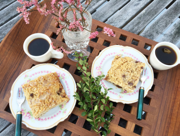 Lavender Peach Coffee Cake on Tray with Coffee