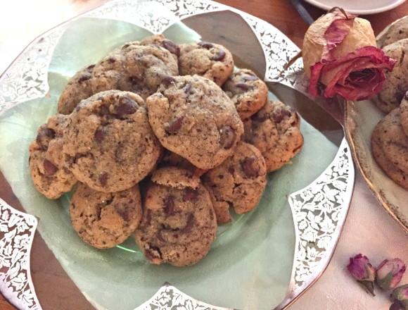 rose hazelnut chocolate chip cookies