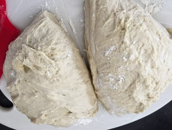 half to each pan
