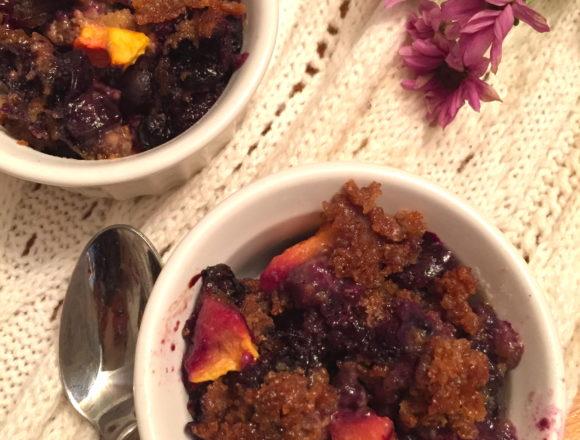 flax blueberry nectarine cobbler