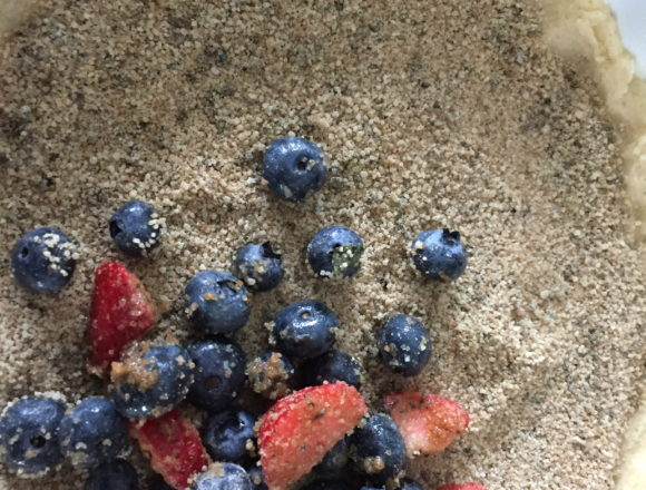 basil sugar first, fruit on top