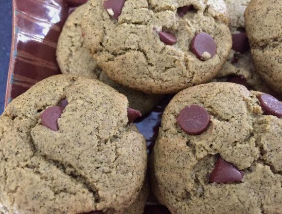 tulsi chocolate chip chickpea flour cookies